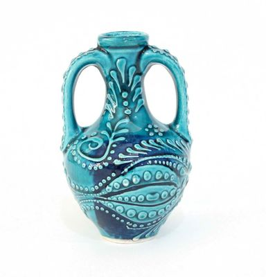 İlbay 15 cm Turkuaz Anfora Testi Çini Seramik Vazo