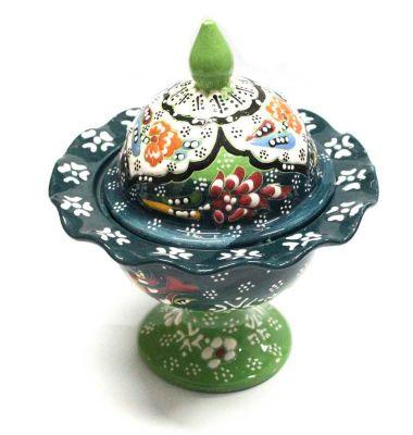İlbay El İşi Yeşil Dantel Çini Seramik Şekerlik