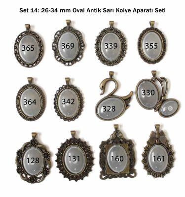 Set 14: 26 - 34 mm Oval Antik Sarı Kolye Aparatı Seti