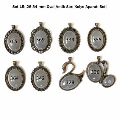 Set 15: 26-34 mm Oval antik Sarı Kolye aparatı Seti