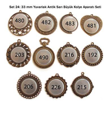 Set 24: 33 mm Yuvarlak Antik sarı Büyük Kolye aparatı Seti