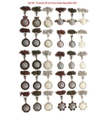 Set 56 : Yuvarlak 25 mm Ucuz Kolye Aparatları Seti